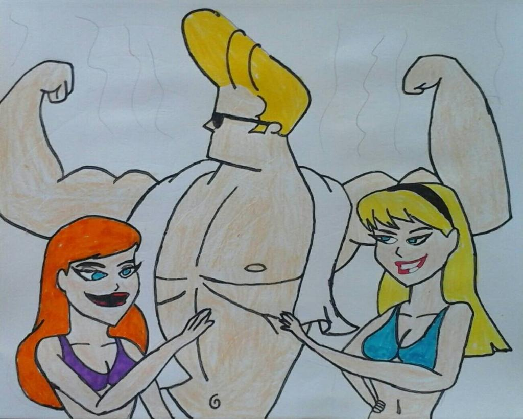Johnny Bravo, Kara and Barbara (DeviantArt - JQroxks21)